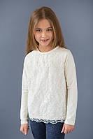 Нарядный реглан для девочки с гипюром | от 4 до 8 лет Молоко