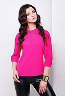 Блуза Тамила д/р цвета фуксия свободного кроя с оригинальным воротником и застёжкой сзади из креп-шифона