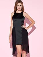 Распродажа по закупке. Черное платье Klimeda из атласа с шифоновым шлейфом KM70284