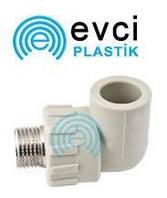 Колено (угол) ППР с наружной резьбой 20 х 1/2 для полипропиленовых труб Evci Plastik