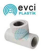 Тройник с внутреней резьбой 25*3\4*25 для полипропиленовых труб Evci Plastic