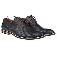 Стильные мужские туфли с перфорацией от Kadar (черные, комфортные, на шнурках)