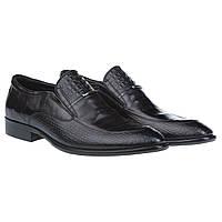 Классические мужские туфли от Roberto Paulo с вставками из фактурной кожи (модные, удобные, черного цвета)