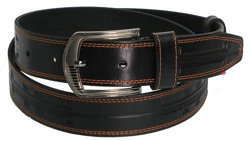 Джинсовый мужской кожаный ремень Skipper 5437 чёрный ДхШ: 133х4 см.