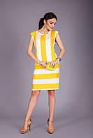 Платье без рукавов в модную широкую полоску, фото 1