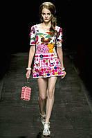 Скидка до 70%. Платье Elisabetta Franchi яркой расцветки с карманами OB90085