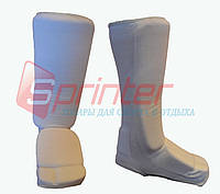 Защита ног для единоборств, от колена до пальцев.Цвет: белый. Размер: М.