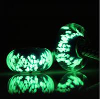 """Шарм бусина Pandora (Пандора) """"Муранское флуоресценция стекло зеленый"""""""