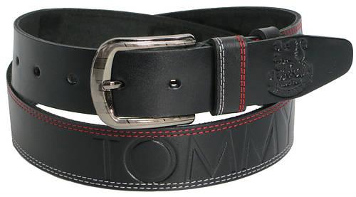 Мужской кожаный ремень под джинсы Skipper 3644 Tommy Hilfiger черный ДхШ: 129х4 см.