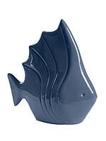 Декор керамический глянцевый синий в морском стиле Рыба.