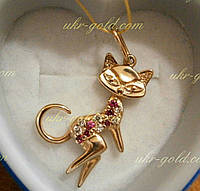 Кулон золотой в виде кошки