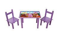 """Стол + два стула дерево """"Лунтик"""""""