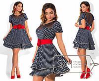 Модное платье с поясом в комплекте,модель № X4090,размеры 48-54