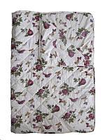 Одеяло полуторное, силиконовое, летнее Розы-бабочки, бязь хлопок 100% (140х205 см.)