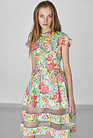 Женское нежное летнее платье с цветочным принтом и прозрачными вставками