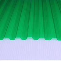 Шифер ПВХ - Трапеция ЗЕЛЕНЫЙ (Salux W 70/18 мм, 1.8*0.9 м)