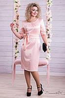 Атласное нарядное летнее платье с бантом на талии ниже колен большие размеры 44-52