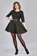 Женское стильное гипюровое платье с ремешком