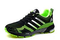Кроссовки мужские Adidas Marathon TR 15, текстиль, черно-салатовые, фото 1