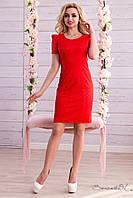 Нежное классическое летнее платье-футляр из принтованого жаккарда рукав фонарик 44-50