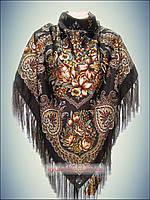 Шерстяной платок Ароматы весны, коричневый принт 2016