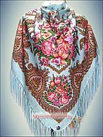 Шерстяной платок Ароматы весны, голубой 2016