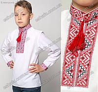 Детская вышиванка для мальчика крестиком Майкл красно-черный орнамент. От 3 до 12 лет