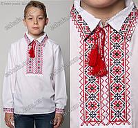 Детская вышиванка Остап для мальчика крестиком рубашечный ворот красно-черная. Рост 140-170см