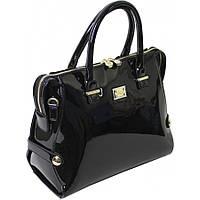 Женская лаковая сумка черного цвета