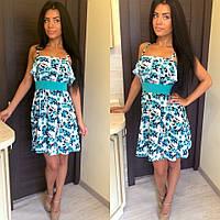 Женское красивое летнее платье-сарафан с цветами (2 цвета)