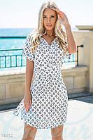 Повседневное летнее женское платье рубашка приталенного фасона под пояс с принтом ромбы рукав короткий штапель