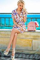 Красивое летнее женское платье рубашка приталенного фасона под пояс с принтом бабочки рукав короткий штапель