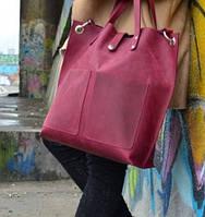 Бордовая женская кожаная сумка Toton на плечо ремень на кнопке шоппер