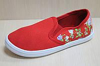 Мокасины кеды на девочку, детская текстильная спортивная обувь р. 29