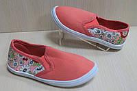 Мокасины кеды на девочку, детская текстильная спортивная обувь р. 25,28,30