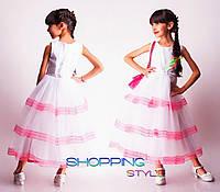 Замечательное детское выпускное платье с цветным кружевом для девочки Бантик