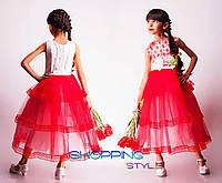 Яркое детское выпускное платье с кружевом для девочки