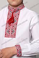 Вышиванка детская с геометрическим узором Майкл красный