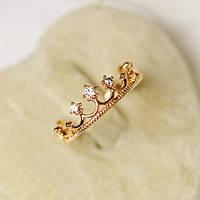 [ Кольцо Корона ] Женское кольцо «Корона» Золото 15.5