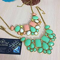 """Нежное ожерелье """"Альбина"""", пастельных цветов."""