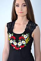 Черная футболка с украинской вышивкой