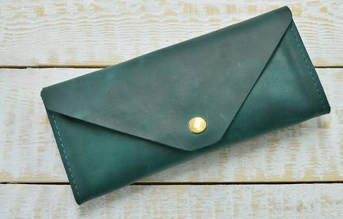 Великолепное портмоне из натуральной кожи GBAGS W.0010-ALI изумрудный