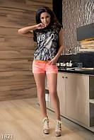 Модные короткие женские шорты яркой неоновой расцветки с ремешком и стразами стрейч коттон