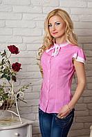 Нарядная хлопковая блузка на лето с кружевной отделкой розовая в горох