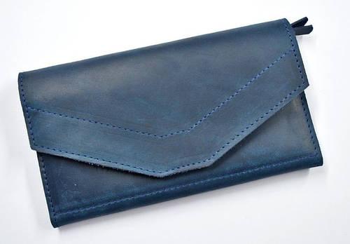 Фантастическое портмоне из натуральной кожи GBAGS W.0012-CH синий