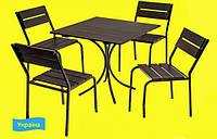 Садовая мебель для дачи – комплект «Тесс» (стол, 4 стула), прочный металлический каркас, сосна