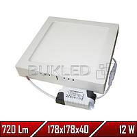 Светильник Led накладной, квадратный, 220 В, 12 Вт, Econom (20 000 ч)