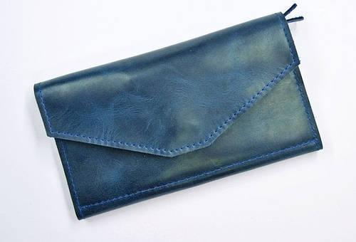 Удобное портмоне из натуральной кожи GBAGS W.0013-CH синий