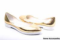 Туфли женские кожаные золотистые комфорт WindRose