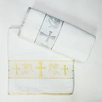 Крестильное полотенце крыжма  с ангелом 70*140  ровный крест